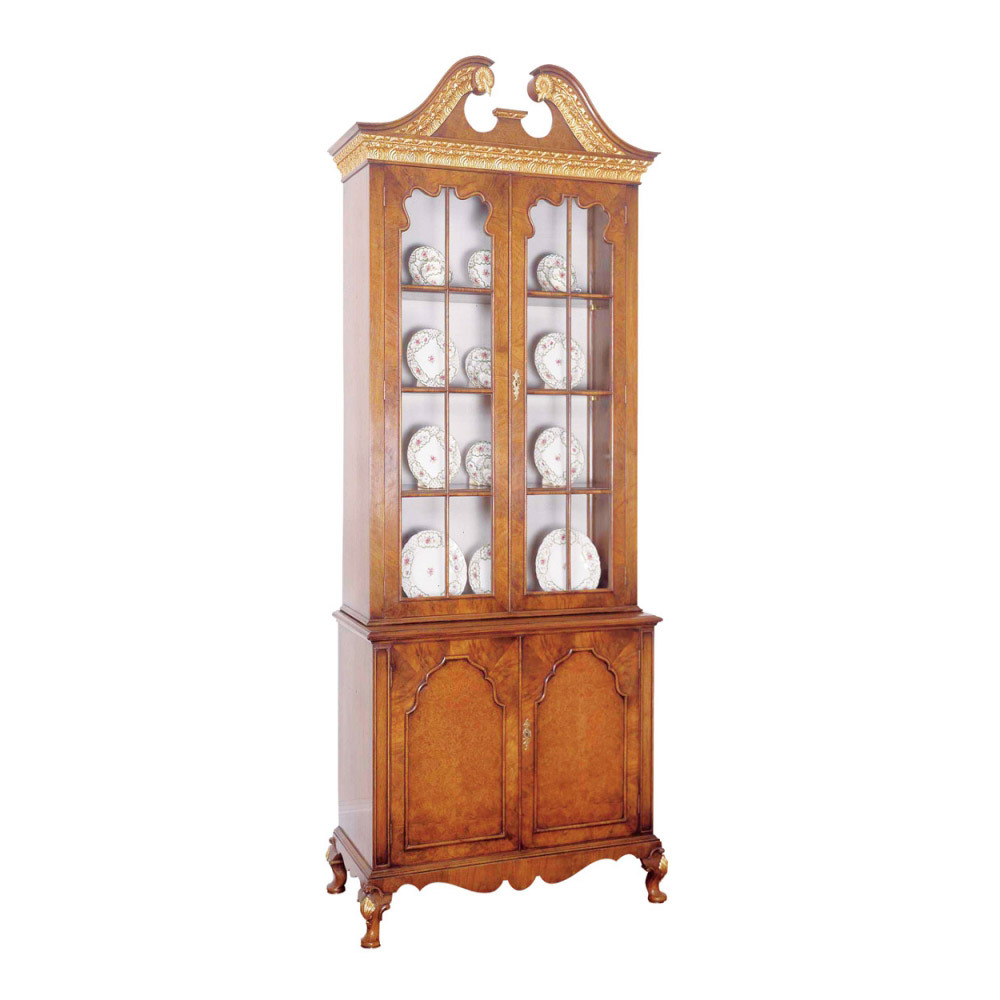 Walnut & Gilt Display Cabinet