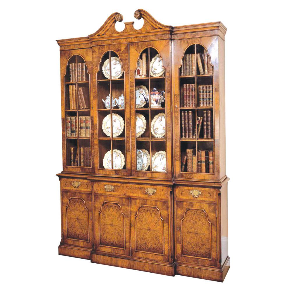 Walnut Breakfront Bookcase