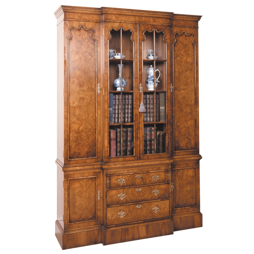 walnut breakfront bookcase 1 titchmarsh goodwin. Black Bedroom Furniture Sets. Home Design Ideas
