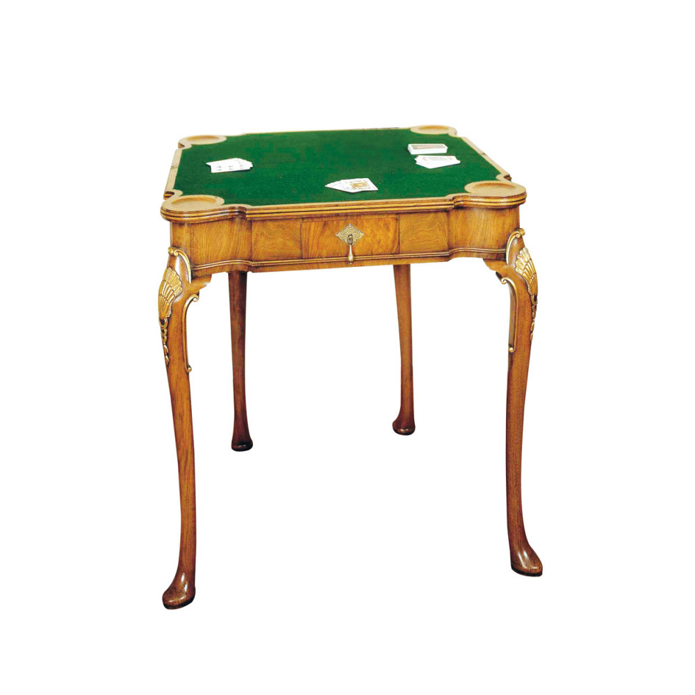 Walnut & Gilt Folding Games Table