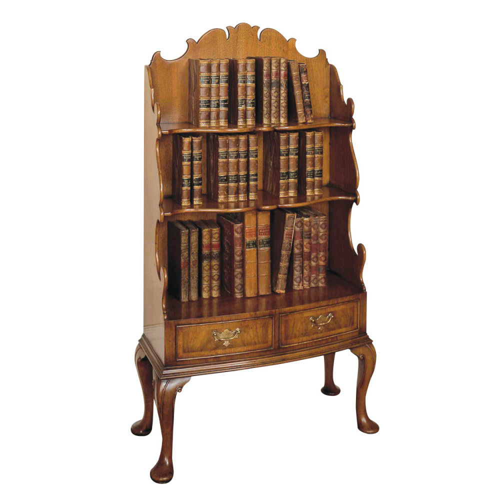 Walnut Bow-fronted Bookcase