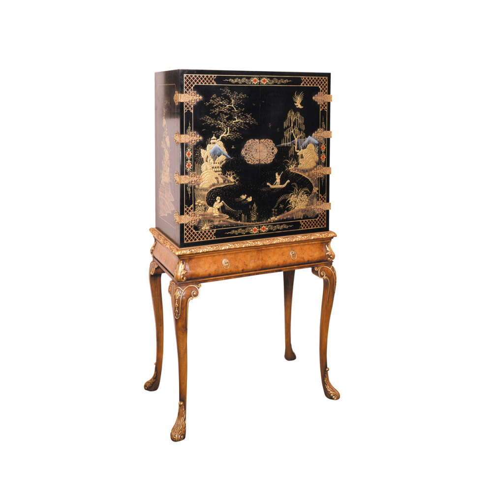 Black Lacquered Cabinet on Walnut Parcel Gilt Stand