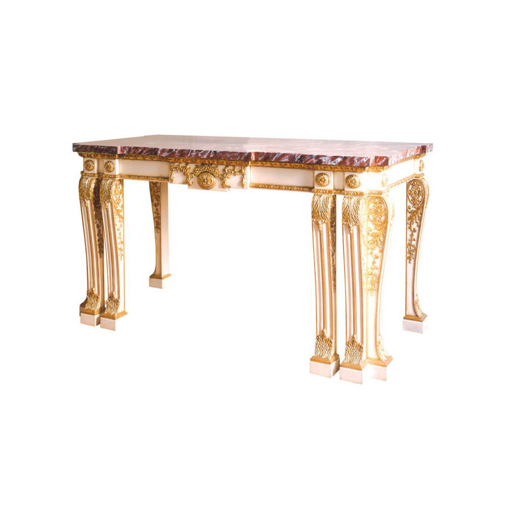 Painted Ivory Side Table with Gilt Enrichments and Marble Top