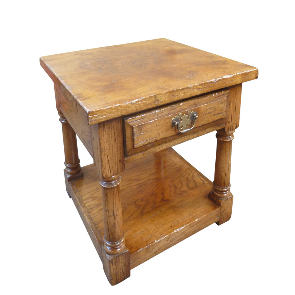 English Oak End Table with Epicormic Top