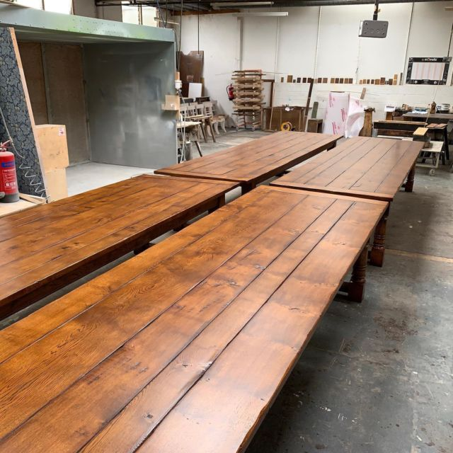 We like a big solid oak refectory table at T&G especially when they are faked up and distressed like these. 4 down - another 8 to go. . . . . #oaktable #refectorytable #diningtable #banquetingtable #weddingtable #customfurniture #bespokefurniture #classicalfurniture #tradtionalfurniture #englishfurniture #interiordesign #ipswich #suffolk