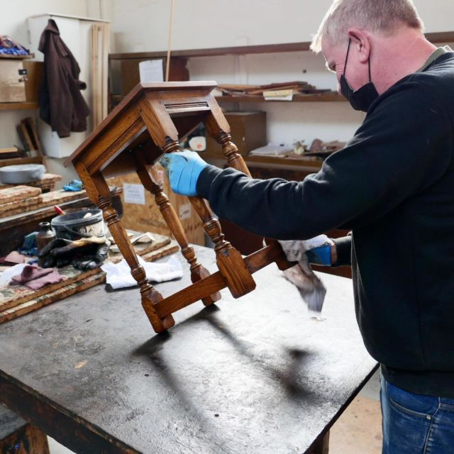 Ant putting the final touches on this lovely nest table, solid oak with our beautiful renaissance finish, perfect for any home.  #oaktable #english #custommade #customfurniture #handmade #design #englishoakfurniture #bespoke #suffolk #ipswich