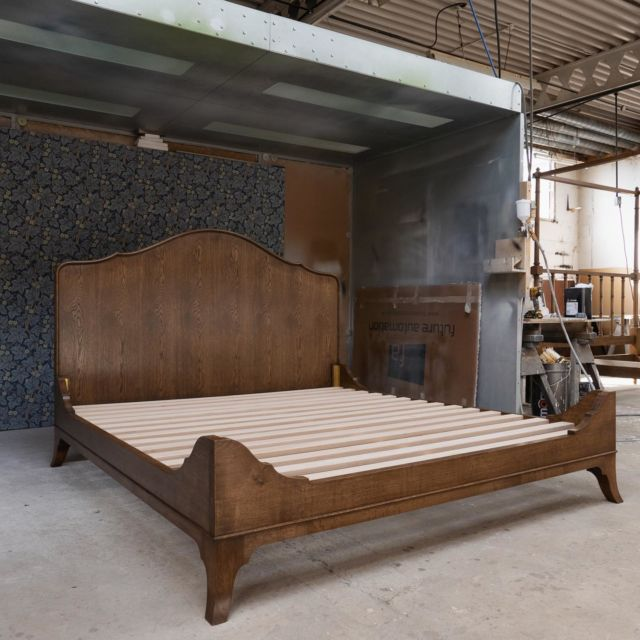 """We are delighted to be delivering these beautiful beds to a client courtesy of @annahainesdesigns tomorrow.   Someone will be sleeping in style in our stunning bespoke custom beds finished in new """"Chelsea oak"""".   Excellent work from all involved!"""