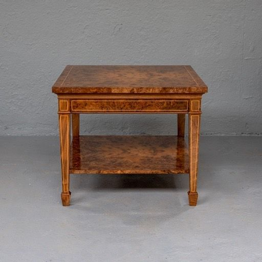 Elegant design and beautiful traditional craftsmanship come coming together to create these stunning side tables.  The natural burr walnut is complimented by simple boxwood lines.   Superb craftsmanship from our team at T+G.   Like what you see? Give us a call!