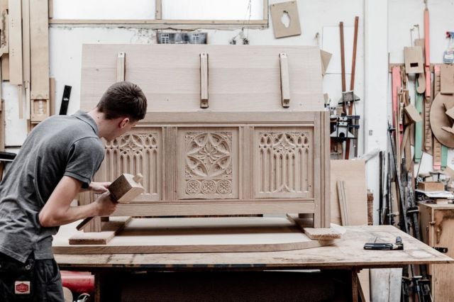 Sam came to us as an apprentice in 2018 had a desire to learn traditional cabinet making.  He is now a vital role in our workshop, working independently and with the team on a variety of projects, from traditional cabinet making, machining, turning and fitting.  He has developed his skills more than we could have expected thanks to his willingness to learn and the teachings of our experienced makers.  Great work Sam!
