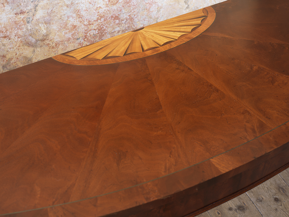 semi circle wooden side table